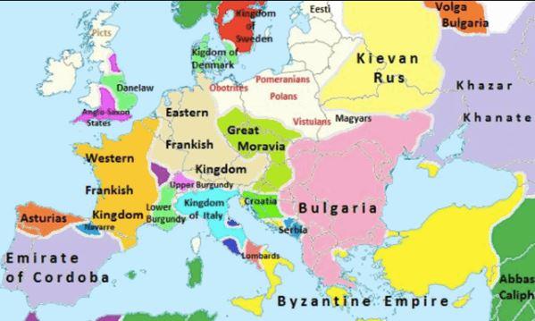 Karta Na Evropa Ot 10 Ti Vek V Anglijski Uchebnik Pokazva Blgariya